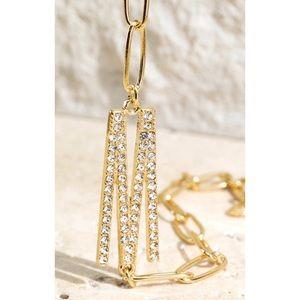 Pave crystal initial bracelet